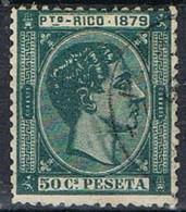 Sello 50 Cts Alfonso XII, Colonia Española PUERTO RICO 1879, Num 27 º - Puerto Rico