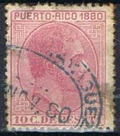 Sello 10 Cts Alfonso XII, Defecto, Colonia Española PUERTO RICO 1880, Num 36 º - Puerto Rico