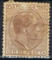 Sello 15 Cts Alfonso XII, Defecto, Colonia Española PUERTO RICO 1880, Num 37 º - Puerto Rico
