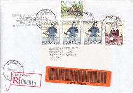 Poland Registered Einschreiben Labels KÓRNIK 2000 Cover Brief GOUDA Holland 3-Stripe - 1944-.... Republic