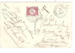 REF1241/ CP Marche-Les-Dames En S.M. C.Marches-Les-Dames 8/9/1947 Griffe T > Middelkerke Taxée 1 Fr TTx 43 C.Middelkerke - Postmark Collection