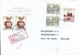 Poland 'KOMET' Registered Einschreiben Label KÓRNIK 2001 Cover Brief GOUDA Holland Double Pairs - 1944-.... Republic