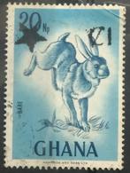 141. GHANA USED STAMP HARE, RABBIT, ANIMALS, SURCHARGED - Ghana (1957-...)