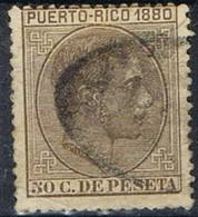 Sello 50 Cts Alfonso XII, Colonia Española PUERTO RICO 1880, Num 40 º - Puerto Rico
