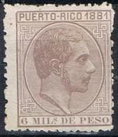 Sello 6 Mils Alfonso XII, Colonia Española PUERTO RICO 1881,  Num 46 * - Puerto Rico