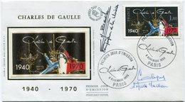 """FRANCE ENVELOPPE ILLUSTREE """"CHARLES DE GAULLE 1940 - 1970"""" AVEC SIGNATURES JACQUES BAUCHE ET UN DEPORTE DE DACHAU - De Gaulle (General)"""