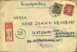 """1945, R-Brief Ab """"BERLIN 4"""" Nach Watzum, Weiter Nach """"MUNSTERLAGER, Lager A"""" - Soviet Zone"""