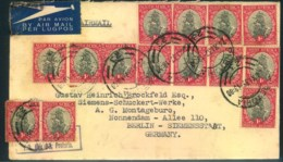 1937, Airmail With Massfranking 14 Examples Of 1 D From CAPE TOWN To Berlin - Storia Postale