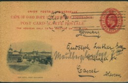 """1908, 1 Penny Stationery Card With Picture """"The Jetty, Port Elisabeth"""" Swnt To Cassel, Germany - Capo Di Buona Speranza (1853-1904)"""