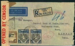 1942, Registered Letter From NAIROBI With Censor Strip And Mark To Bombay - Kenya, Uganda & Tanganyika