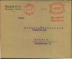 """1927, Absenderfreistempel """"HENKEL TROCKEN"""" Der """"Henkell & Co."""" Weinkellerei-Biebrich - Sekt - Wein & Alkohol"""