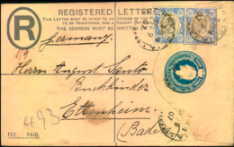 1907: Registered Stationery Envelope With Additional Pair 2 1/2 D Edward VII From PRETORIA Sent To Ettenheim, Baden. - Transvaal (1870-1909)