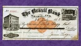USA Check The Brazil Bank - Brazil, Indiana 1873 - Unclassified