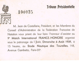 NATATION -  INVITATION - MATCH FRANCE - HONGRIE WATER POLO - 1939 - - Natation