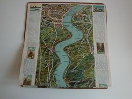 Allemagne,carte Du Rhin De Mayence à Cologne,Rhein Von Mainz Bis Köln,avec Description En Trois Langues - Geographical Maps