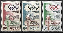 MAROC   -  1964  .   Y&T N° 476 à 478 *.   .JO De Tokyo.   .série Complète - Marokko (1956-...)