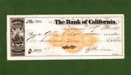 USA Check The Bank Of California San Francisco 1871 SIGNED Charles James Brenham - Unclassified