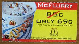 McDonald's 2005 McFlurry Buono Sconto Malta Pubblicità  2005 - McDonald's
