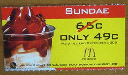McDonald's 2005 Sundae Buono Sconto Malta Pubblicità  2005 - McDonald's