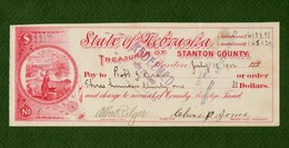USA Check State Of Nebraska Treasurer Of Stanton County 1902 RARE - Unclassified