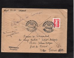 LSC 1992 - Au Dos Cachet TOULON SECTEUR MARINE - Devant Cachet TOULON NAVAL - Centenaire Naissance Cdt Dixmude - Poste Navale