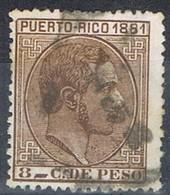 Sello 8 Cts Alfonso XII, Colonia Española PUERTO RICO 1881,  Num 52 º - Puerto Rico
