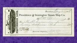 USA Check Providence And Stonington 1886 STEAM SHIP - Non Classificati