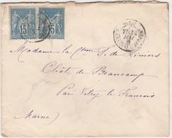 Enveloppe 1889 / Adressée Comtesse De Liniers / Château De Beaucamp / Par Vitry Le François 51 - France