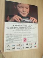 SPITIN20 Page Revue Années 60/70 : PUBLICITE VOITURES MINIATURES OFFERTES - Reclame - Alle Merken
