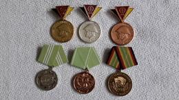 6 X Medaille Am Band Reservist Treue Dienste Polizei Abzeichen DDR NVA - DDR