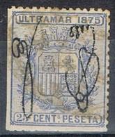 Sello 25 Cts Escudo, Colonia Española PUERTO RICO 1875,  Num 5 º - Puerto Rico