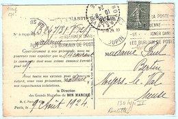 Semeuse Lignée 130 Type VI (roulette) Sur Carte De Versailles - Marcophilie (Lettres)