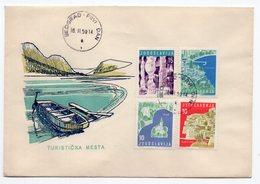 YUGOSLAVIA,2 XFDC COVERS,16.11.1959.COMM. ISSUE:TOURIST SITES:DUBROVNIK,OHRID,ST. STEFAN,PLITVICE,OPATIJA,BLED,POSTOJNA - FDC