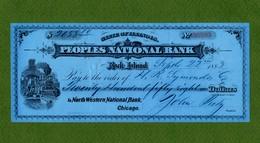 USA Check Peoples National Bank Rock Island Illinois 1883 Signed Peetz Civil War - Unclassified