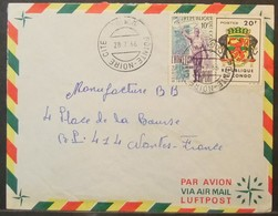 Congo - Cover To France 1966 Athletism Armorial Elephant - FDC