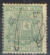 Sello 50 Cts Escudo, Colonia Española PUERTO RICO 1875, Habilitado,   Num 6 * - Puerto Rico