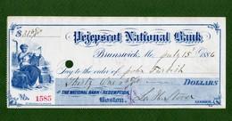 USA Check Pejepscot National Bank BRUNSWICK Maine 1886 - Non Classificati