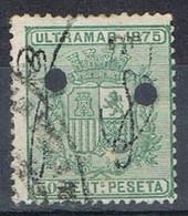 Sello 50 Cts Escudo, Colonia Española PUERTO RICO 1875, Habilitado, Taladro  Num 6 º - Puerto Rico