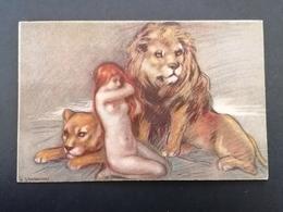 Zandrino. Illustrateur. Lion. Femme. Série 18-4. - Zandrino
