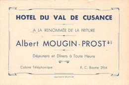 25 - DOUBS - VAL DE CUSANCE - 10046 - Carte De Note Hôtel Albert MOUGIN-PROST - France