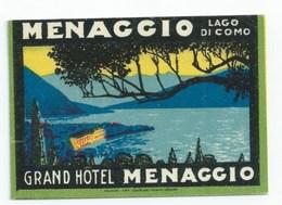 Luggage Labels Label Hôtel - Etiquettes - MENAGGIO - GRAND HOTEL - Non Classificati