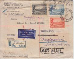 Australien - 1934 100 J. Victoria Satz Einschreibebrief Teil-Luftpost Sydney - Australia