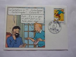 FDC Tintin Milou  Boulogne Sur Mer 11-03-2000 Chien Dog Carte Postale - Bandes Dessinées