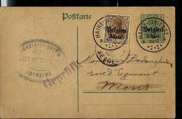 Entier  Obl. HAINE - ST - PIERRE  A A  1917 + Censure - Guerre 14-18