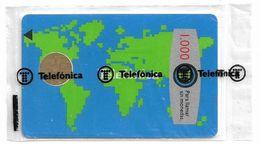 Spain - Telefónica - Mapamundi - B-013 - Cn. 468236 Top Left Reverse, 03.1989, Chip Bull B1, 1000PTA, NSB - Spanje