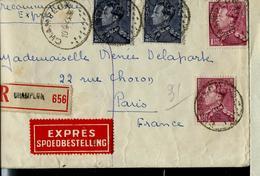 Doc. De CHAMPLON Du 10/09/43 En Rec.+ Exprès  ( Poortman) N° 429 Et 529  Pour Paris - Poststempel