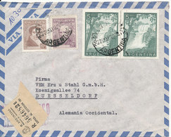 Argentina Registered Air Mail Cover Sent To Germany 28-5-1956 With More Stamps - Luftpost
