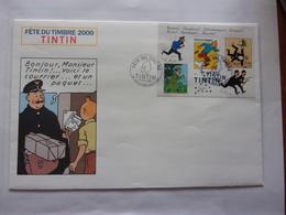 FDC Tintin Milou  Boulogne Sur Mer 11-03-2000 Chien Dog Envelope Grand Format Bloc Facteur - Bandes Dessinées
