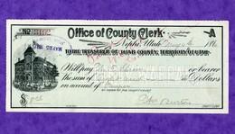 USA Check Office Of County Clerck 1896 Juab County Nephi Utah - Non Classificati
