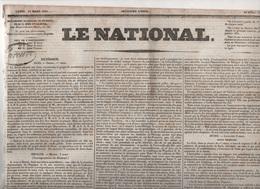 LE NATIONAL 14 03 1831 - DRESDE SAXE - ESPAGNE - BOLOGNE - LAUSANNE - BELGIQUE LUXEMBOURG - VARSOVIE - LE HAVRE ... - Zeitungen